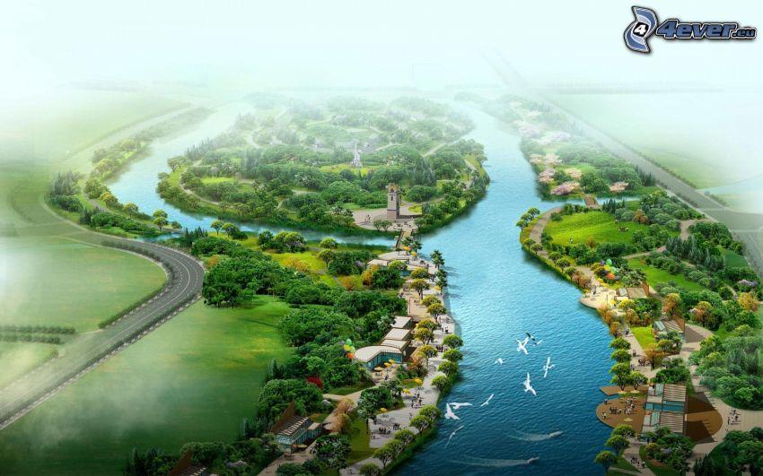 utsikt över landskap, flod, hus, träd, fåglar