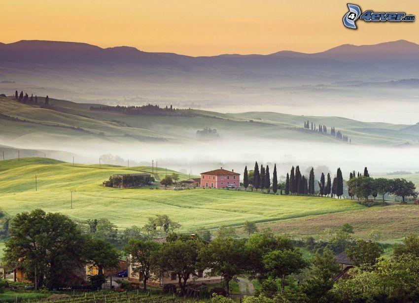 utsikt över landskap, kullar, hus, träd, markdimma