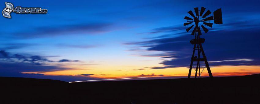 väderkvarn, efter solnedgången, propeller, silhuett