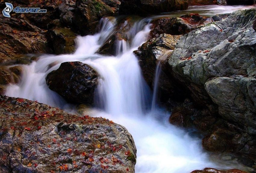 vattenfall, bäck, klippa