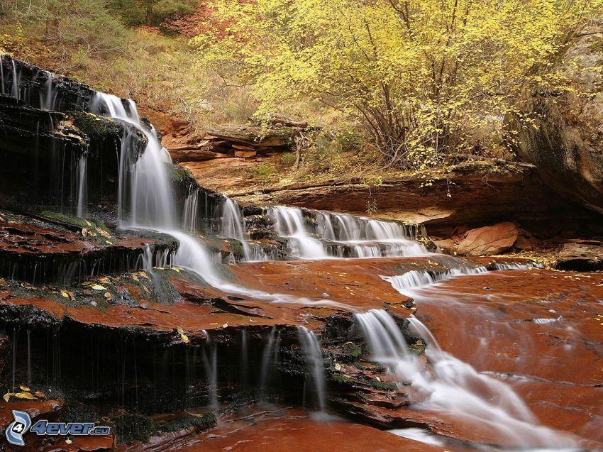 vattenfall, kaskader, klippa, flod