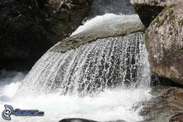 vattenfall, klippa, vatten