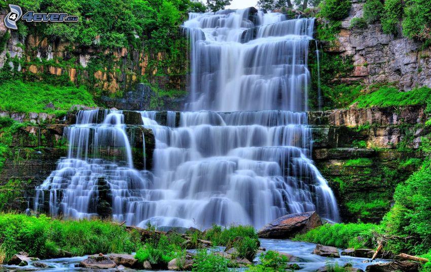 vattenfall, klippor, grönska