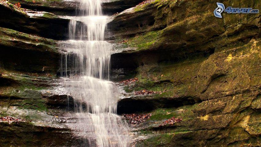 vattenfall, klippor, kaskader
