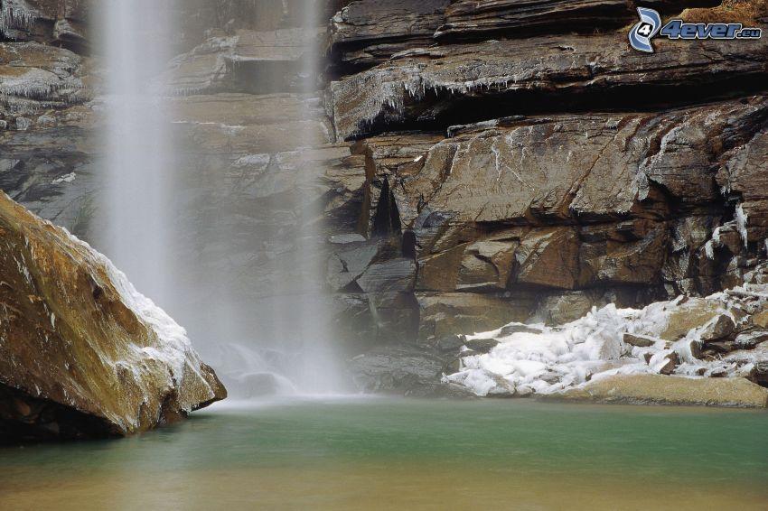 vattenfall, klippor, sjö