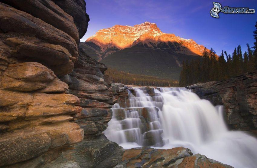vattenfall, klippor, stenig backe