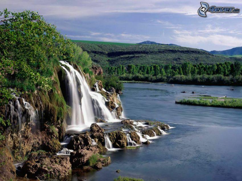 vattenfall, sjö, skog