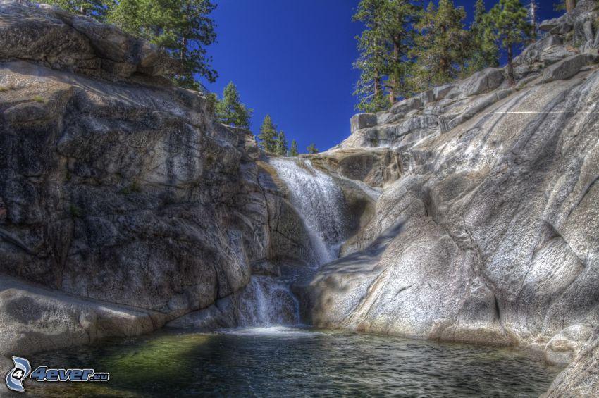 vattenfall, sjö, Yosemite National Park, HDR