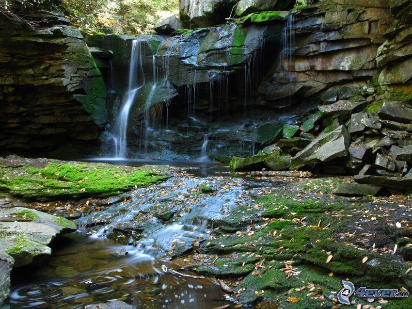 vattenfall i skogen, klippor, bäck