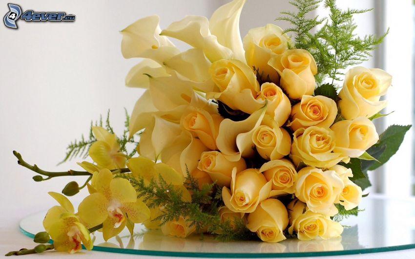 bukett, gula rosor, orkidéer