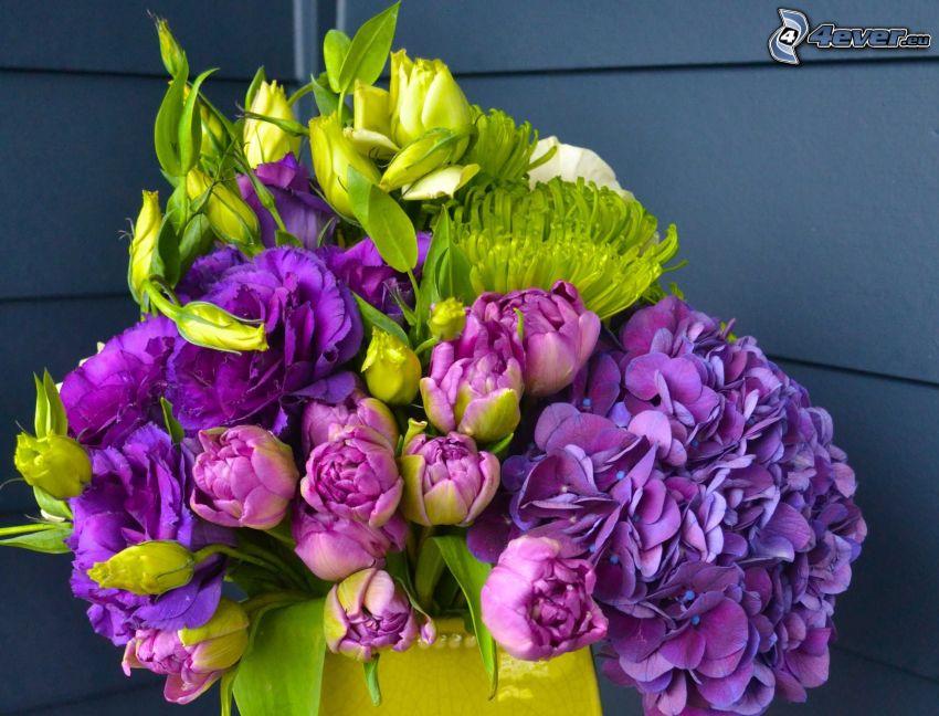 bukett, hortensia, rosor