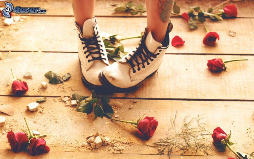 flickben, vita skor, röda rosor