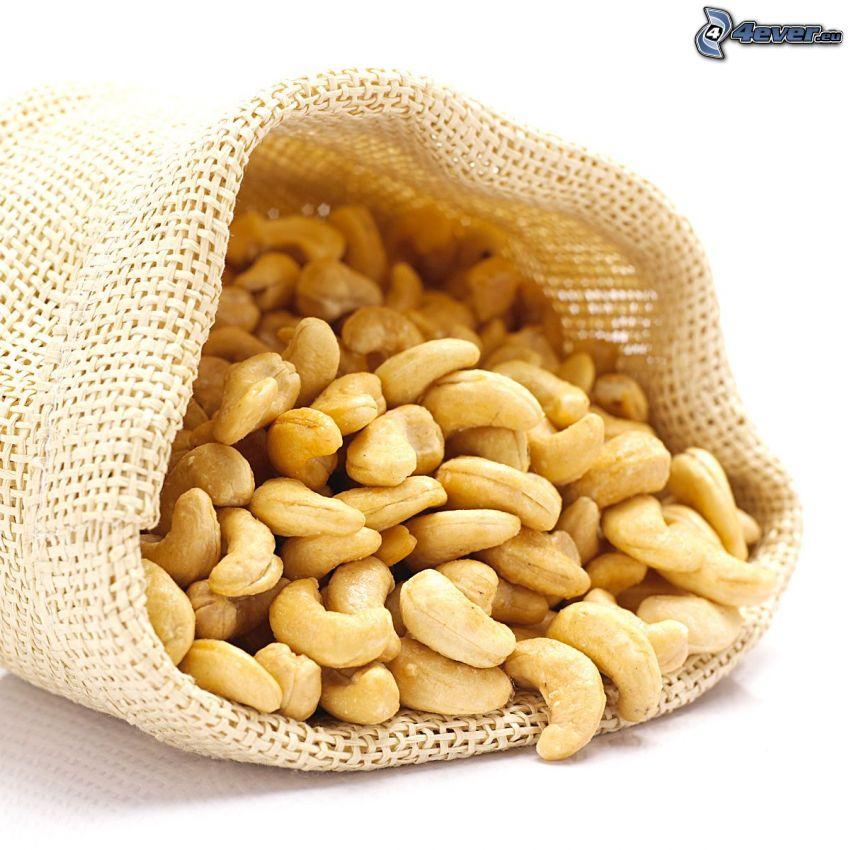 cashewnötter, säck
