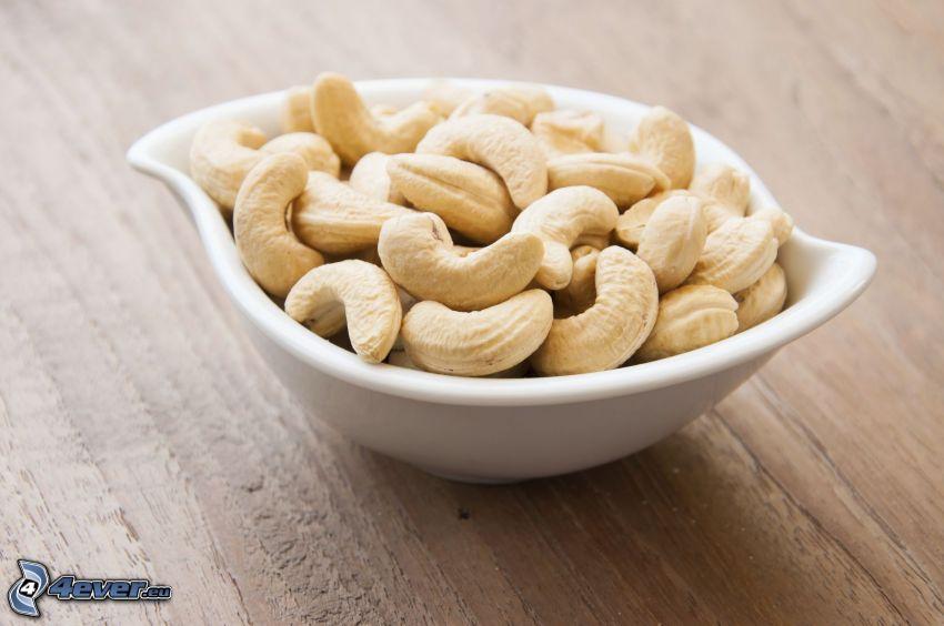 cashewnötter, skål