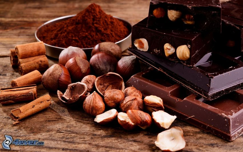 choklad, hasselnötter, kanel