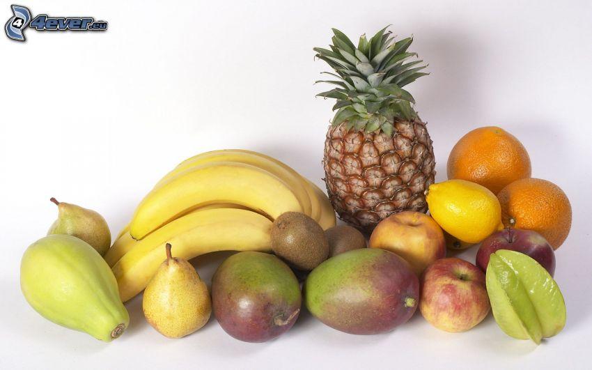 frukt, ananas, banan, mango, kiwi, päron, apelsiner, äpplen