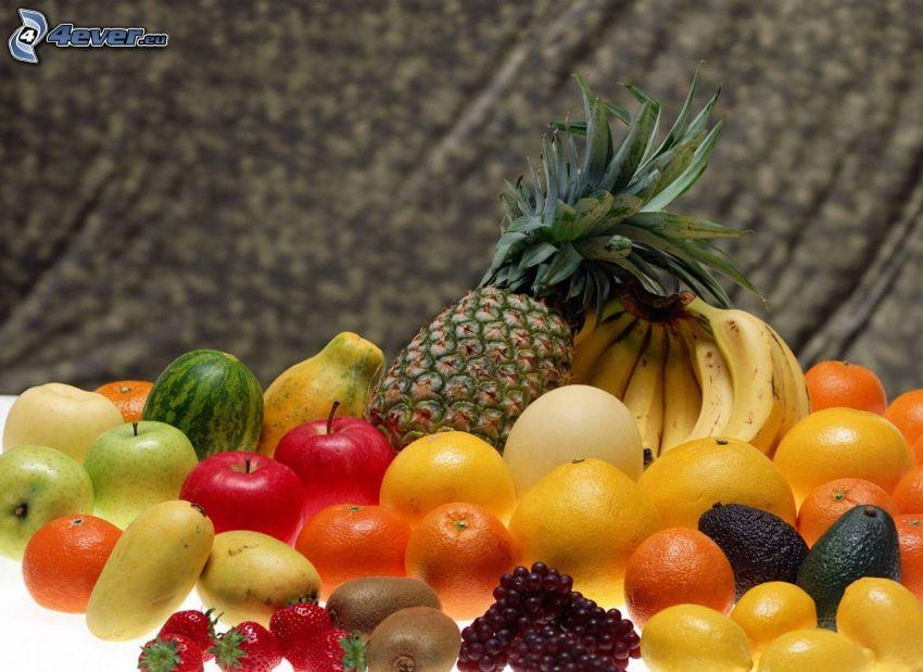 frukt, ananas, bananer, apelsiner, melon, grapefrukt, röda äpplen, vindruvor, kiwi, avokado, citroner, jordgubbar