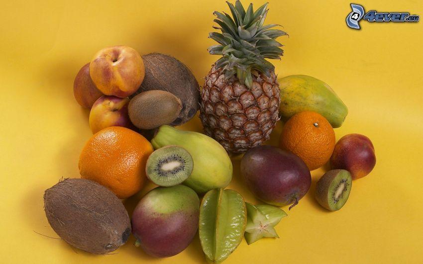 frukt, ananas, kiwi, kokosnöt, persikor, mango, apelsiner