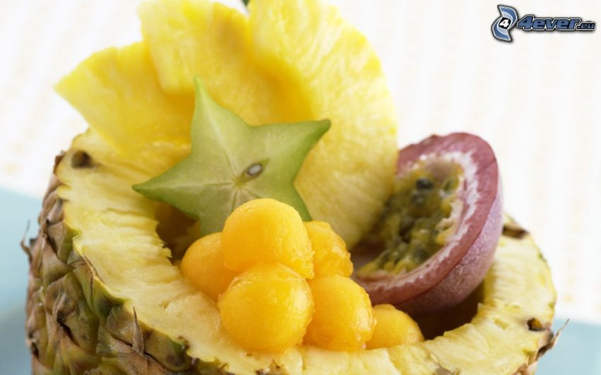 frukt, ananas, passionsfrukt, carambola