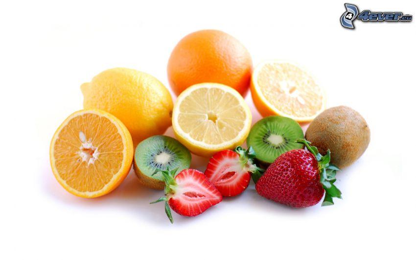 frukt, apelsin, citroner, jordgubbar, kiwi