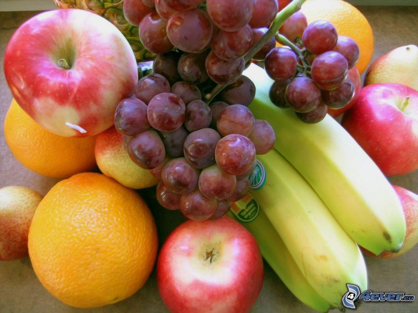 frukt, bananer, äpplen, apelsiner, vindruvor