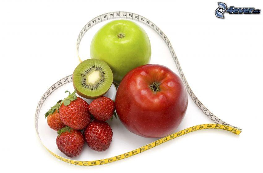 frukt, hjärta, äpplen, jordgubbar, kiwi