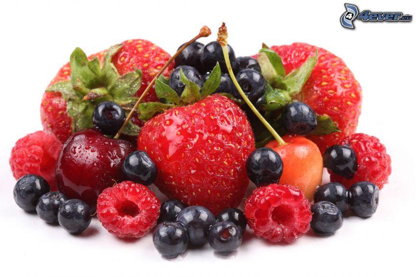frukt, jordgubbar, blåbär, körsbär, hallon