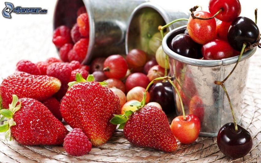 frukt, jordgubbar, körsbär, bigaråer, hallon, krusbär