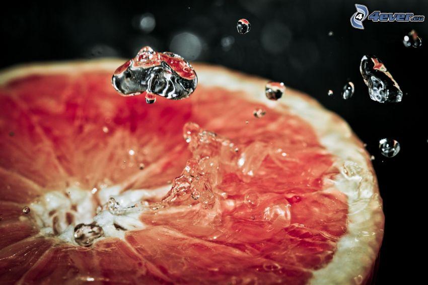 grapefrukt, vattendroppar