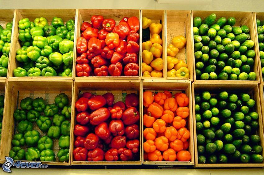 grönsaker, gurkor, paprikor, marknad