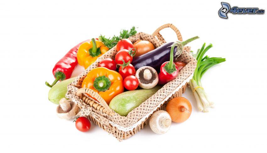 grönsaker, paprika, korg, champinjoner, tomater, lökar, aubergine
