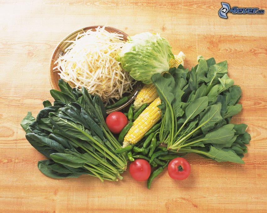 grönsaker, tomater, majs, sallad