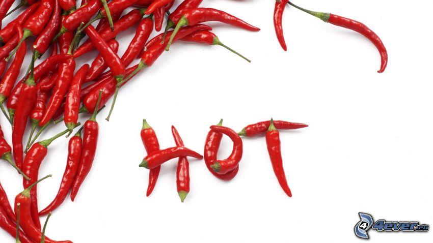 HOT, röda chilipaprikor