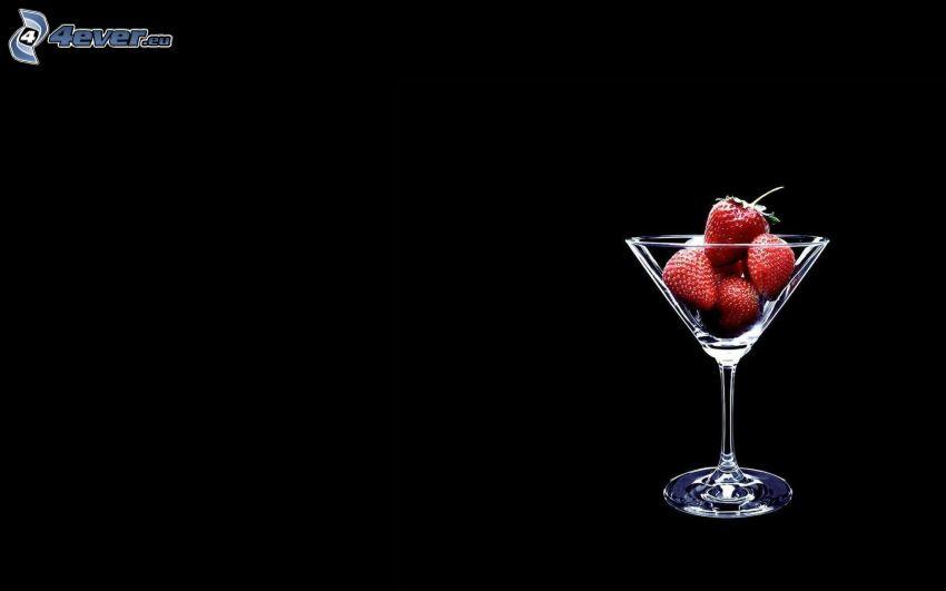 jordgubbar, glas