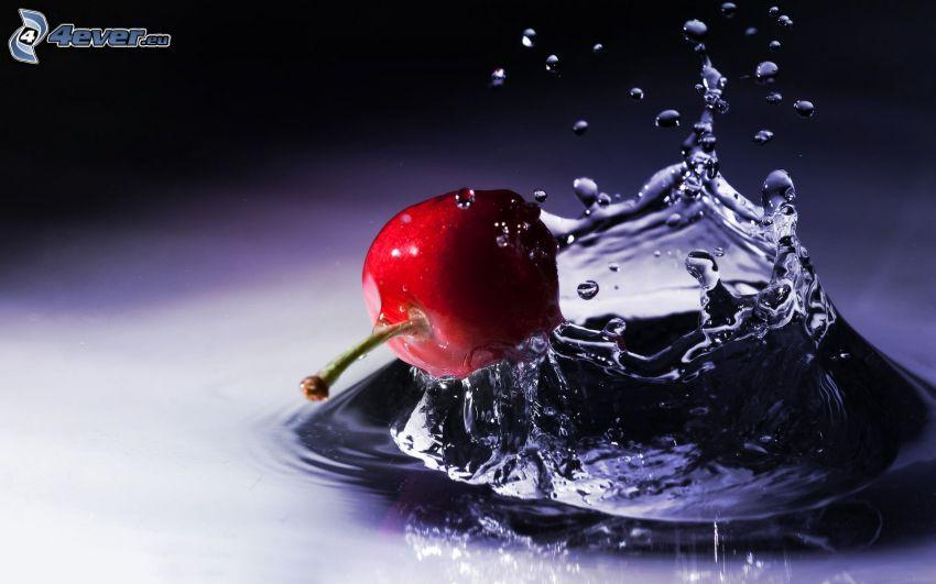 körsbär, vatten, plask