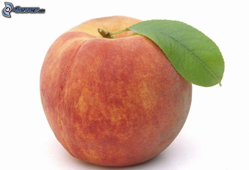 persika, grönt blad