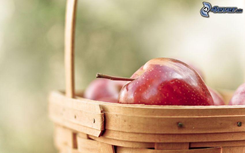 rött äpple, korg