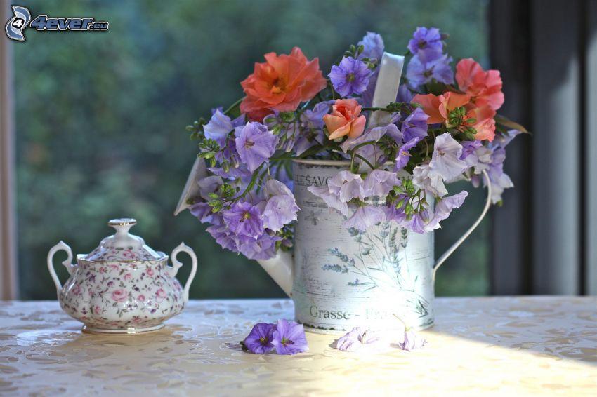 stilleben, blommor, vattenkanna, kopp, porslin