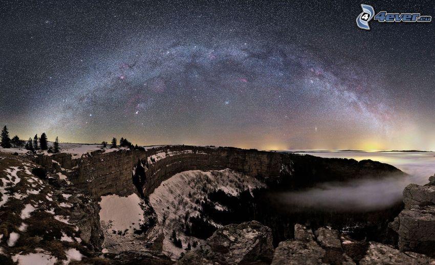 Vintergatan, klippiga berg, snö, natt