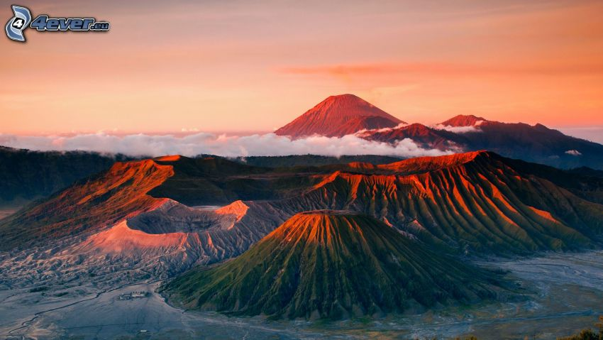 vulkaner, moln, kväll
