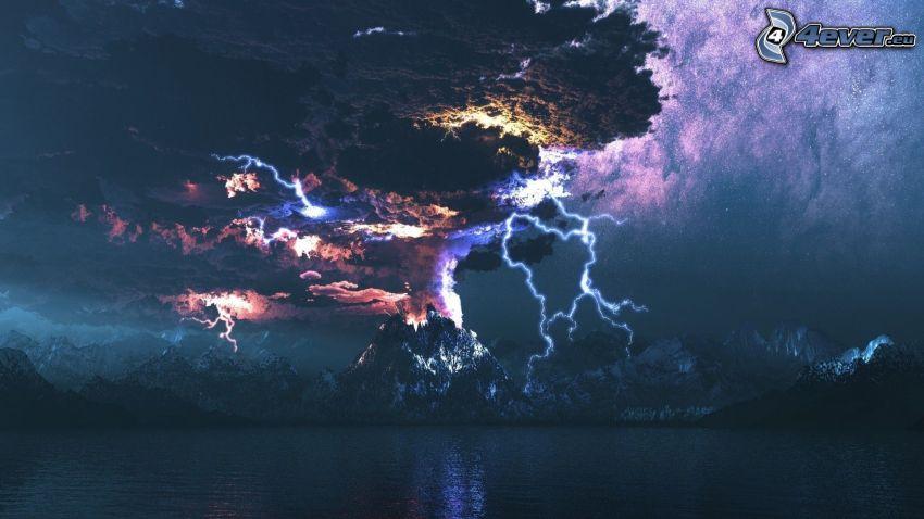 vulkanutbrott, blixt, berg, sjö, vulkaniskt moln