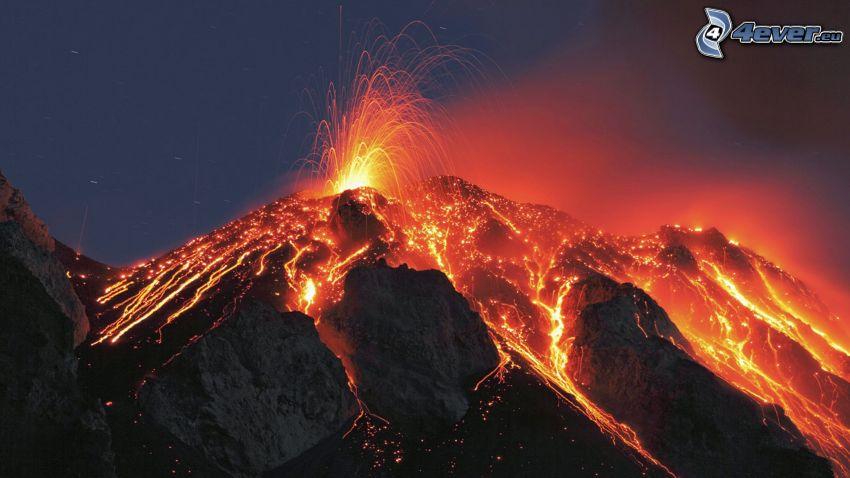 vulkanutbrott, lava, klippor
