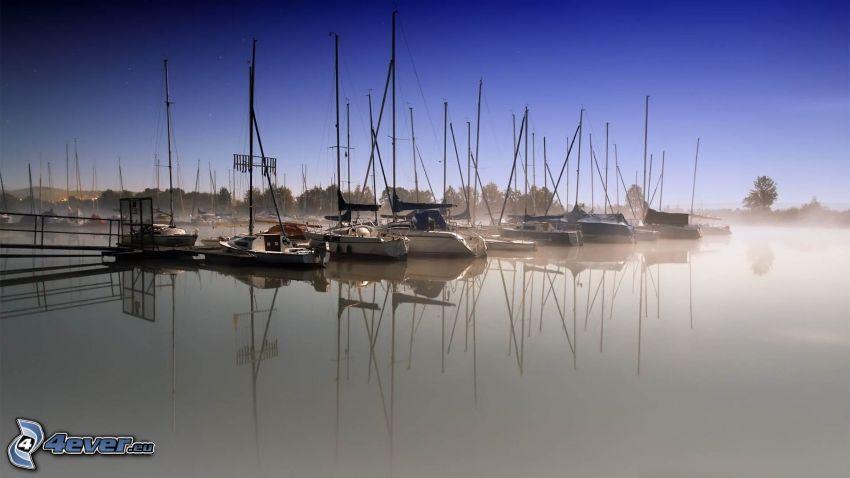 yachthamn, segelbåtar