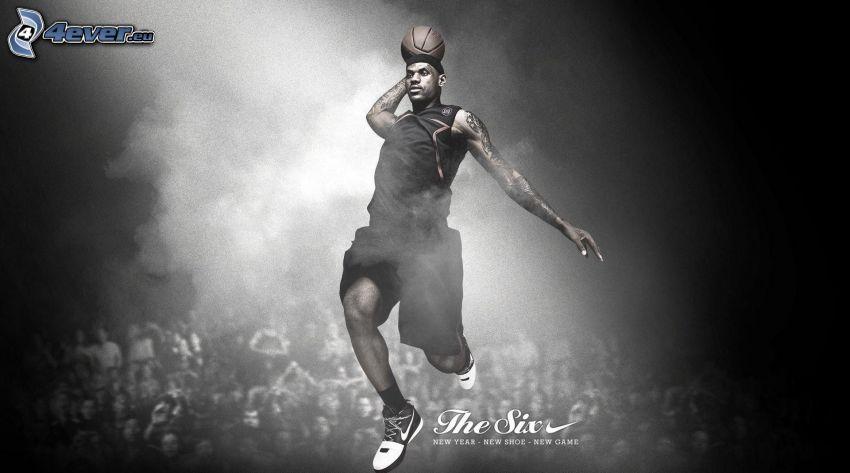 basketbollsspelare, mörkhyad man
