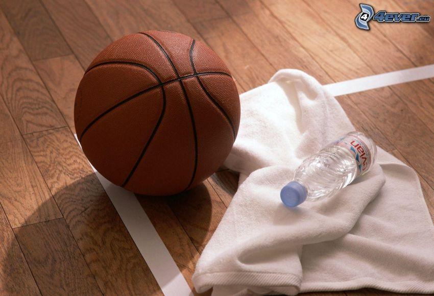 boll, basket, flaska, handduk