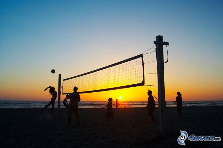 beachvolleyboll, solnedgång över strand, hav