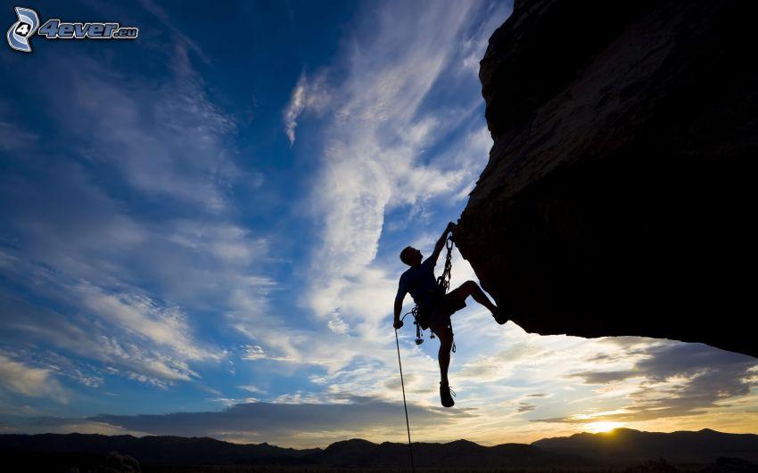 bergsklättrare, klippa, solnedgång över kulle