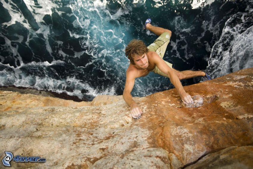 bergsklättring, hav, rev, adrenalin
