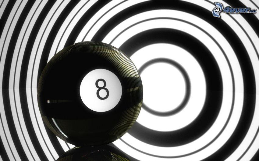 biljardkula, mål, cirklar, svart och vitt