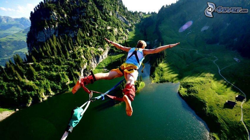Bungee jumping, fritt fall, flod, landskap